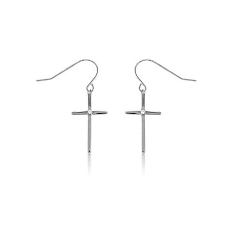 E028001* - Sterling Silver Cross French Wire Earrings with Cubic Zirconia Accent