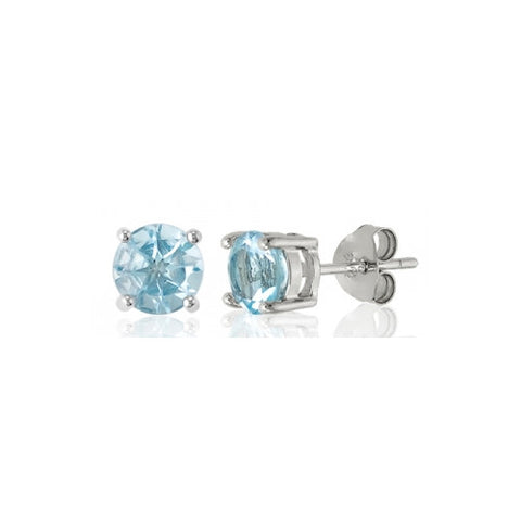 E028002 - Round Blue Topaz and Sterling Silver Post Earrings