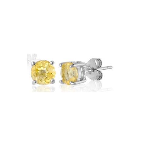 E028005* -6mm Round Citrine and Sterling Silver Post Earrings