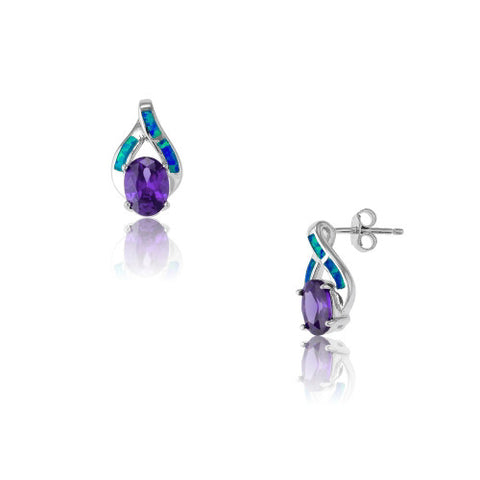 E028016 - Oval Amethyst CZ and Inlay Opal Ribbon Earrings