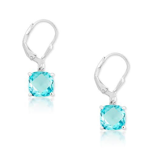 E028042 - 8mm Blue Topaz Lever Back Earrings