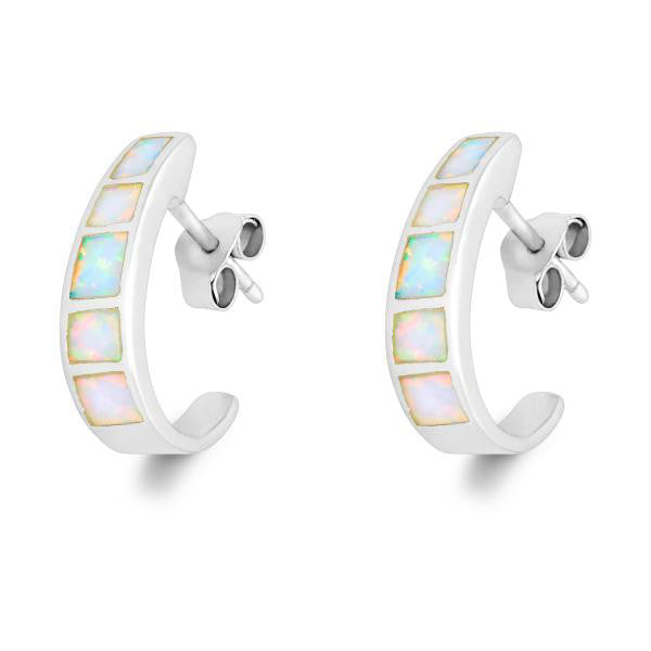 E028044 - White Opal Hoop Post Earrings