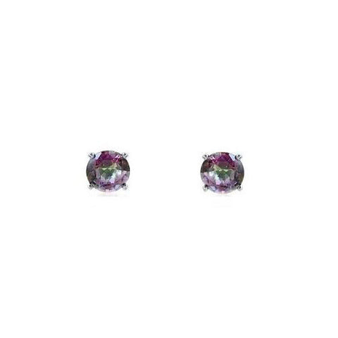 E028046 - 6mm Round Mystic Cubic Zirconia Post Earrings