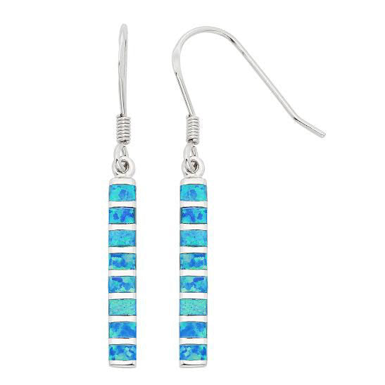 E028049 - Sterling Silver and Blue Opal Bar French Wire Earrings
