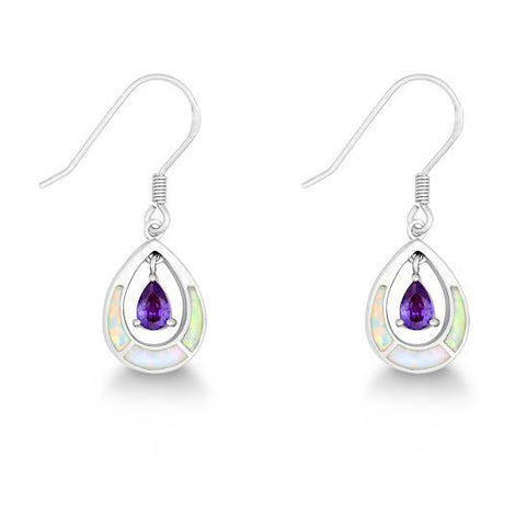 E028050 - White Opal and Amethyst Cubic Zirconia Tear Drop French Wire Earrings