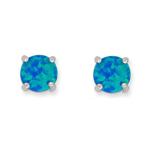 E059009 - Sterling Silver and 6mm Blue Opal Stud Earrings