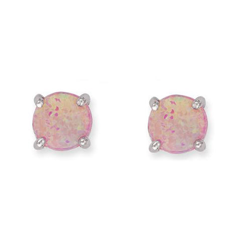 E028054 - 6mm Round Pink Opal Stud Earrings