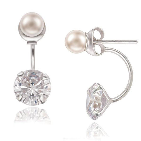 E028069 - Pearl Stud Earring with Cubic Zirconia Drop Backings