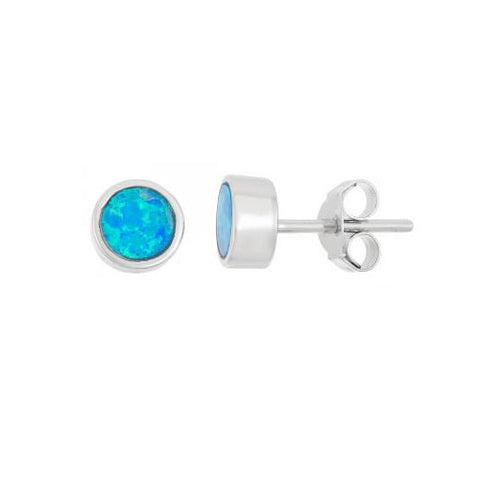 E028089 - Round Bezel Set Inlay Blue Opal Stud Earrings