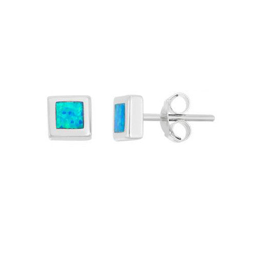 E028091 - Square Inlay Opal Stud Earrings