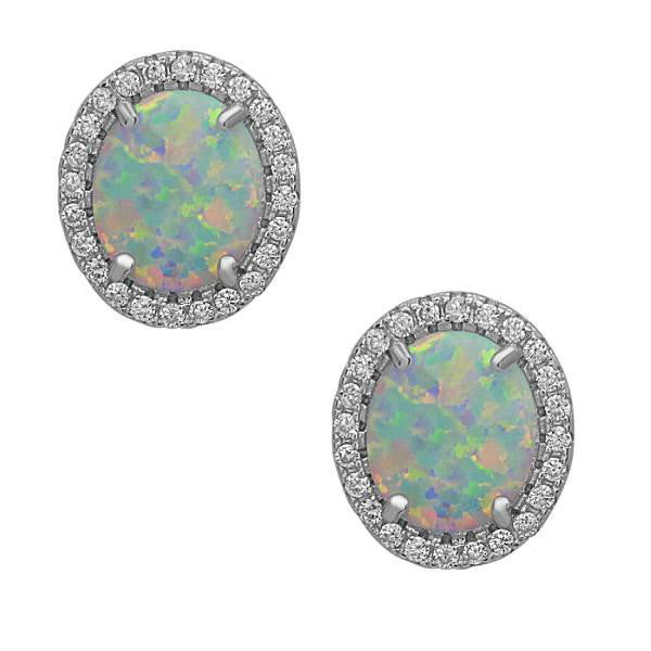 E028093 - Halo Style White Opal Post Earrings