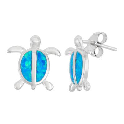 E028099 - Sterling Silver and Blue Inlay Opal Turtle Earrings