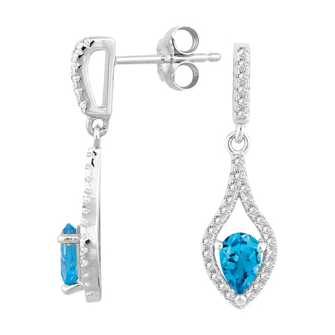 E028112* - Sterling Silver, Swiss Blue Topaz and White Topaz Post Earrings