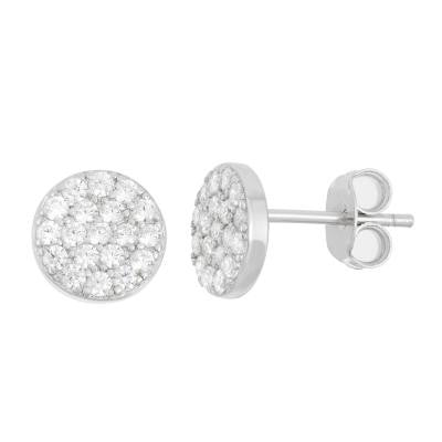 E028115 - Sterling Silver Small Cubic Zirconia Disc Stud Earrings