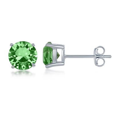 "E028116-AUG - Sterling Silver and Peridot ""August"" Swarovski Crystal Earrings"