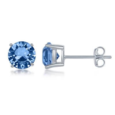 "E028116-DEC - Sterling Silver and Light Sapphire ""December"" Swarovski Crystal Earrings"