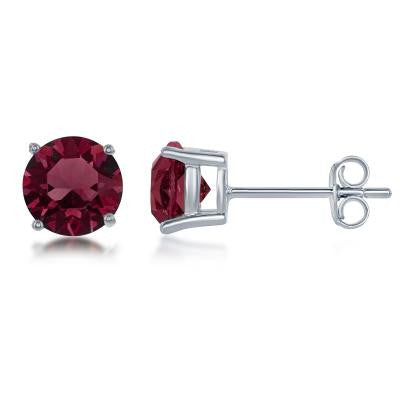 "E028116-JAN - Sterling Silver and Burgundy ""January"" Swarovski Crystal Earrings"