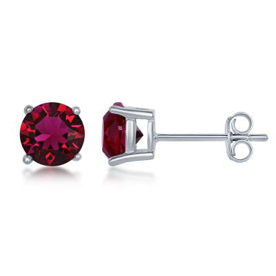 "E028116-JUL - Sterling Silver and Ruby ""July"" Swarovski Crystal Earrings"