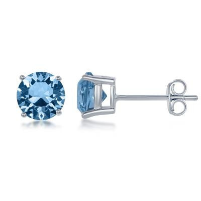 "E028116-MAR - Sterling Silver and Aquamarine ""March"" Swarovski Crystal Earrings"