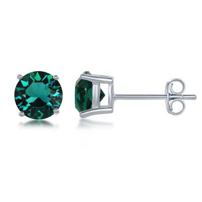 "E028116-MAY - Sterling Silver and Emerald ""May"" Swarovski Crystal Earrings"