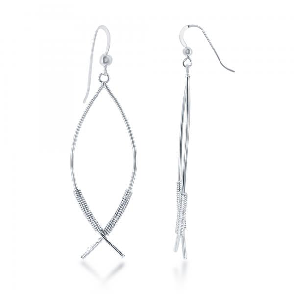 E028123 - Sterling Silver Open Marquise Coil Design French Wire Earrings