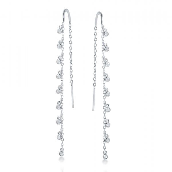 E028129 - Sterling Silver and CZ Threader Earrings