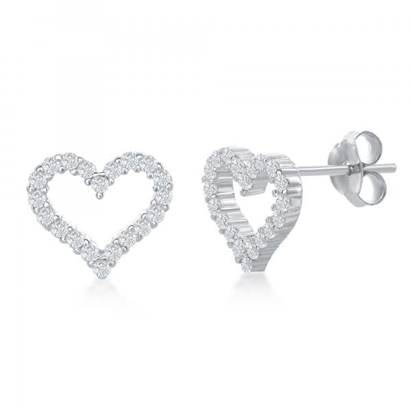 E028130 - Sterling Silver and CZ Open Heart Post Earrings