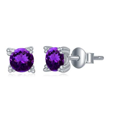 E028137* - Sterling Silver and Amethyst Post Earrings