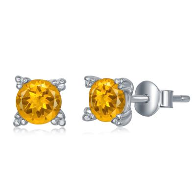 E028138* - Sterling Silver and Citrine Post Earrings