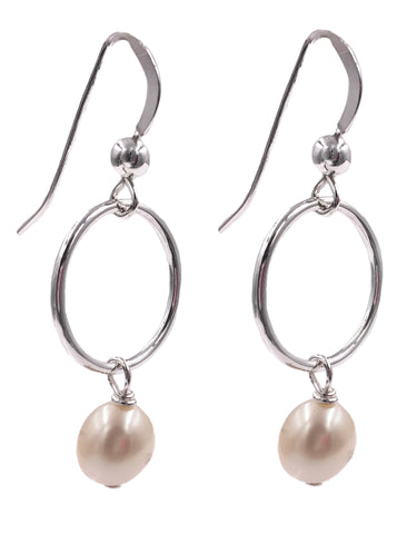 E048015 - Sterling Silver Wire Ring and Pink Freshwater Pearl French Wire Earrings