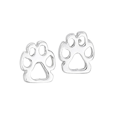 E054006 - Sterling Silver Open Paw Print Stud Earrings