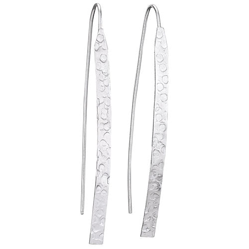 E054007* - Sterling Silver Textured Long Earrings