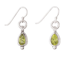 E054010* - Sterling Silver and Peridot French Wire Earrings