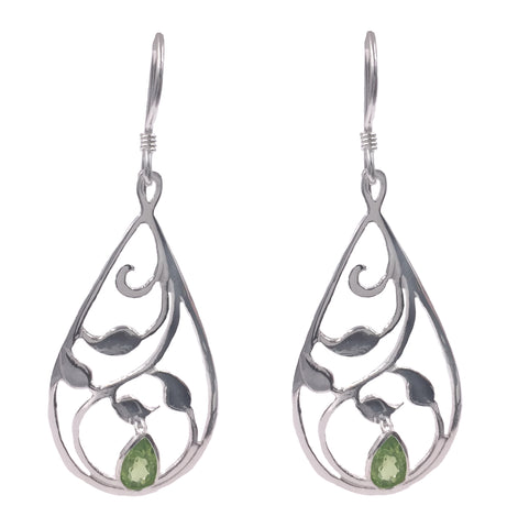 E058038 - Sterling Silver and Peridot French Wire Earrings