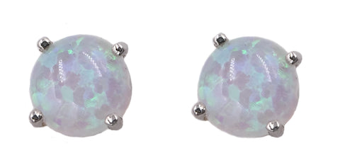 E059008 - Sterling Silver and 6mm White Opal Stud Earrings