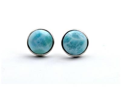 E059015 - Sterling Silver and Larimar Post Earrings