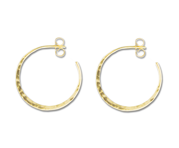 E064003 - Hammered Gold-Filled Hoop Earring