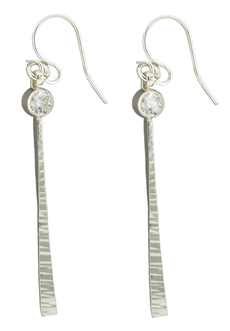 E064007 - Textured Sterling Silver Wire With Cubic Zirconia French Wire Earrings