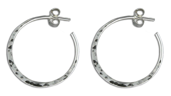 E064008 - Small Hammered Sterling Silver Hoop Post Earrings