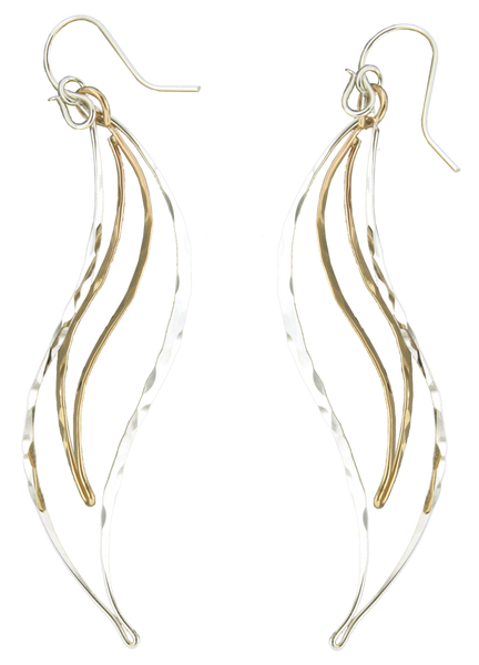 E064015 - Long Hammered Sterling Silver and Gold-Filled Curvy Wire Earrings