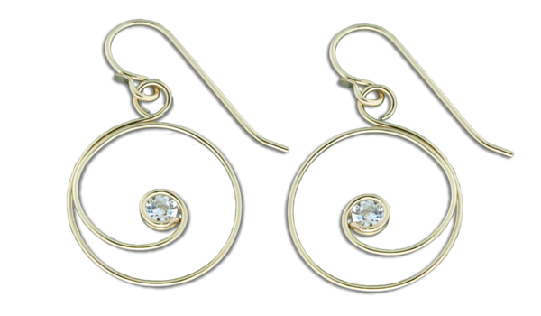 E064031* - Gold-Filled Circle Curl and Cubic Zirconia Earrings