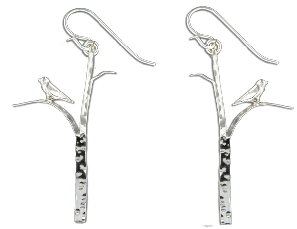 E064036 - Sterling Silver Tree Branch With Bird French Wire Earrings