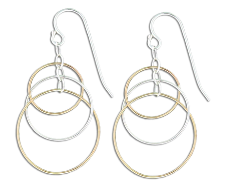 6a76dac38 E064037 - Sterling Silver and Gold-Filled Open Circles French Wire Earrings