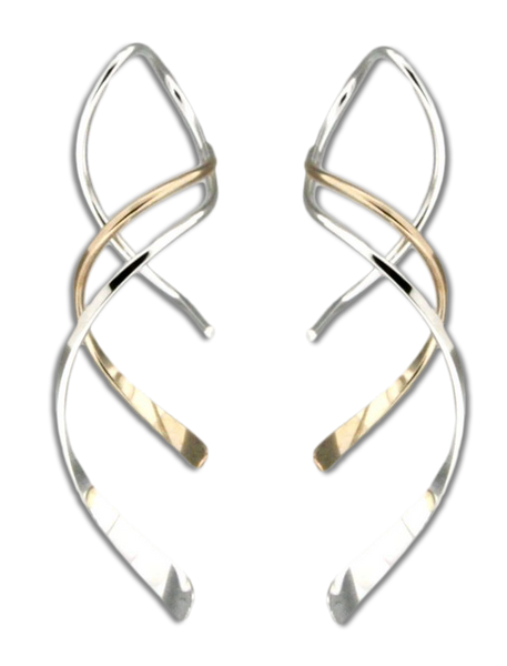 E064040 - Sterling Silver and Gold-Filled Spiral Wire Earrings