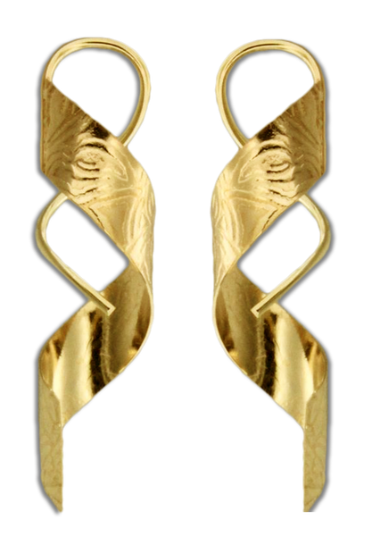 E064042* - Textured Gold-Filled Spiral Earrings
