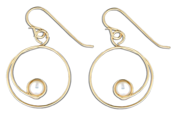 E064048* - Gold-Filled Circle Curl and White Freshwater Pearl French Wire Earrings