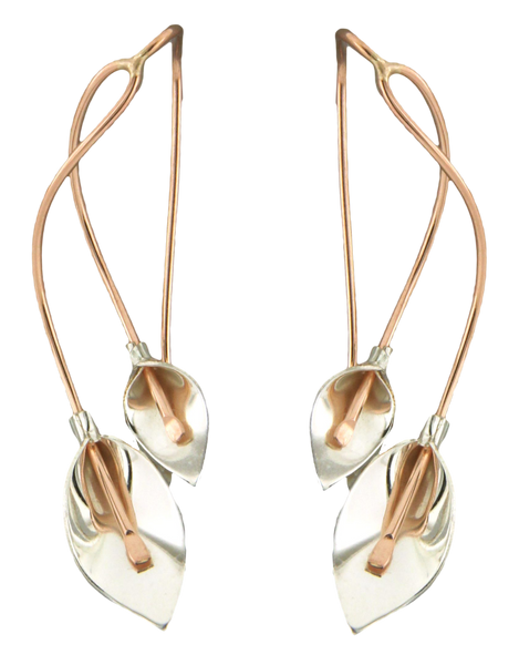 E064052 - Rose Gold-Filled and Sterling Silver Calla Lily Design Earrings