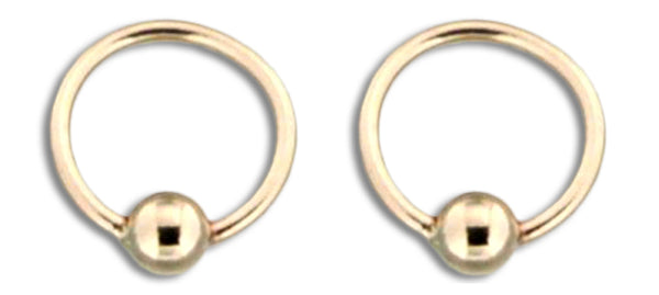 E064059 - Tiny Gold-Filled Hoop Earrings with Bead Accent