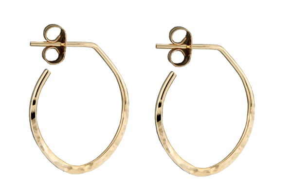 E064064 - Small Hammered Gold-Filled Oval Hoop Post Earrings