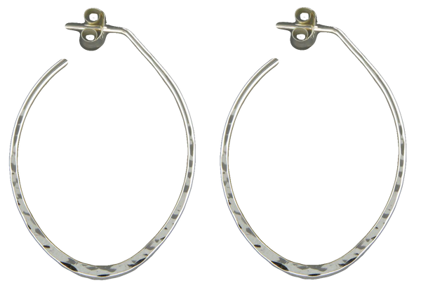 E064067 - Medium Size Hammered Sterling Silver Oval Hoop Post Earrings